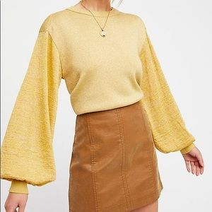 Free People Gold Shimmer Let It Shine Pullover